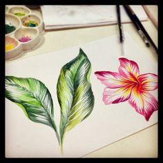 tropical watercolor by @marinabarbato