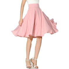 Waistline: Empire Pattern Type: Solid Style: Casual Material: Polyester Dresses Length: Knee-Length women skirt: midi skirt A line: casual skirt vintage: skater skirt size Waist Width(cm) Skirt length