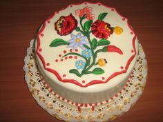 Amazing cake with traditional Hungarian floral design Hungarian Recipes, Hungarian Food, Amazing Cakes, Floral Design, Traditional, Desserts, Popular, Projects, Pretty Cakes
