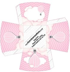Caja abierta. Globo aerostático rosa.