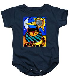 Cats For Kids Apparel and Gifts. Colorful Cat Art baby onesie Sun And Moon , Honourable Cat  By #dorahathazi sun, moon, Cat and moon , cats, pet, pets, feline, simple, kitty, kitten, stars, sky, quirky, stripe, striped, sun and moon, green cat, art for children, whimsy cat, sleeping cat, purr, purring, silver, silver moon, blue sky, bright, vibrant, colorful, children room,  cute cat, kids room decor, home decor, whimsical animals, tabby, gatos, Dora Hathazi Mendes