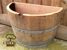 Quarter Wine Barrel Planter Flat Back Ex Oak Barrel