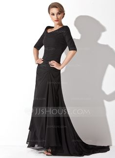 Evening Dresses - $139.99 - A-Line/Princess Off-the-Shoulder Asymmetrical Chiffon Evening Dress With Ruffle (017020812) http://jjshouse.com/A-Line-Princess-Off-The-Shoulder-Asymmetrical-Chiffon-Evening-Dress-With-Ruffle-017020812-g20812