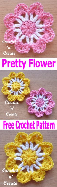 Crochet Flowers Easy Crochet pretty flower pattern will add a bit of spring time and beauty to your items, it also makes an easy project for beginner crocheters. Crochet Puff Flower, Crochet Flower Tutorial, Knitted Flowers, Crochet Flower Patterns, Crochet Motif, Crochet Stitches, Crochet Baby, Crochet Geek, Crochet Leaves