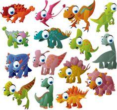 INSTANT DOWNLOAD Cartoon Dinosaurs Digital by DigitalVintageDreams, $2.70