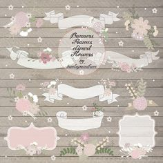 Hand draw Rustic flowers clipart frames banners, Wedding Invitation clipart, Rustic Country Wedding Invitations, wood grain background