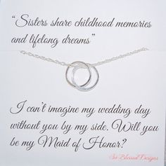 Sister Maid of Honor Necklace Inseparable by SoBlessedDesigns, $39.00