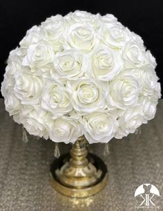 IVORY Rose Arrangement made with PREMIUM Real Touch Silk Roses. IVORY Wedding Centerpiece. Quinceaera. Sweet 16. Bridal Shower. PICK ROSE COLOR! 14 SIZE PICTURED.  GOLD STAND With CRYSTALS Sold Separately Blush And Grey Wedding, Ivory Wedding, Purple Wedding, Lime Wedding, Red Centerpieces, Birthday Centerpieces, Mickey Centerpiece, Crown Centerpiece, Blush Bridal Showers