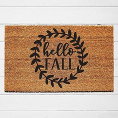 An oldie but a goodie! This fall doormat is one of my faves - it's just so cute! Match it to your home decor with a custom color of your choice. Cute Door Mats, Fall Doormat, Farmhouse Front Porches, Custom Mats, Thanksgiving Decorations, Fall Decorations, Holiday Decor, Silhouette Cameo Projects, Welcome Mats