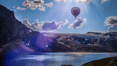 Норвегия, воздушный шар, озеро, горы, облака