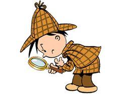 Kleiner Detektiv-Junge mit Lupe