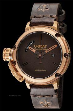 U-BOAT - Chimera Day Date. 46 mm diameter. Case in naturally aged bronze.