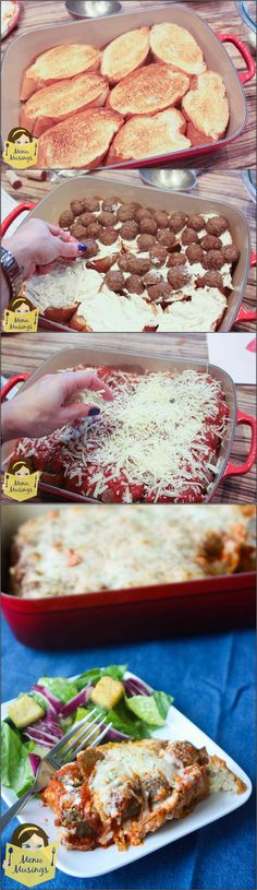 Easy Meatball Sub Casserole - So quick and easy to make on a busy evening!  Step-by-step photos to this family friendly recipe!  <3