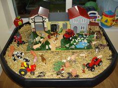 Tuff spot small world farm Tuff Spot, Nursery Activities, Farm Activities, Toddler Activities, Sensory Boxes, Sensory Table, Sensory Play, World Farm, Role Play Areas