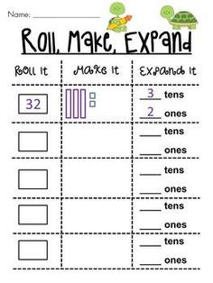 Roll 2 dice to make a number, draw it, and write how many tens and how many ones -- kids love it!