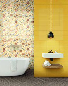 Oživte svou koupelnu hravými barvami obkladů ze série Cloud. Kromě obkladů nabízí tato veselá série i 11 zajímavých dekorů. #keramikasoukup #koupelnyodsoukupa #seriecloud #inspirace #inspiracekoupelny Cloud Decoration, Patchwork Tiles, Yellow Tile, Background Tile, Italian Tiles, Tile Stores, Encaustic Tile, Classic Bathroom, Yellow Bathrooms