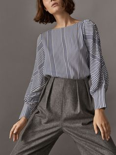 Fall Winter 2017 Women´s NAUTICAL STRIPED SHIRT WITH BUTTONED SLEEVES at Massimo Dutti for 54.95. Effortless elegance!