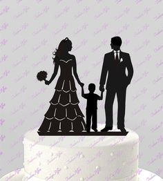 Ships NEXT Day! Wedding Cake Topper Silhouette Groom and Bride with little Boy - Family; BLACK Acrylic Cake Topper [CT83b]