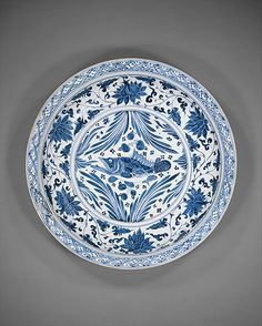 Plate with Carp  Yuan dynasty (1271–1368)   Porcelain painted with cobalt blue under transparent glaze   Diam. 45.7 cm  Met 1987.10