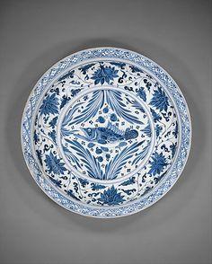 Plate with Carp  Yuan dynasty (1271–1368)   Porcelain painted with cobalt blue under transparent glaze   Diam. 45.7 cm  Met 1987.10