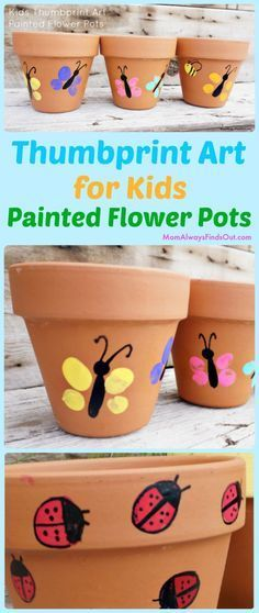 Thumbprint Art Project For Kids - Easy craft idea! Painted flower pots make cute homemade Mother's Day Gifts. Crafts # mothers day crafts for kids Thumbprint Art For Kids Painted Flower Pots Craft Garden Crafts For Kids, Mothers Day Crafts For Kids, Easy Crafts For Kids, Summer Crafts, Fun Crafts, Art For Kids, Mothers Day Flower Pot, Creative Crafts, Children Crafts