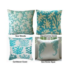 Decorative Throw Pillow Cover, Ivory Pillow Cover with Bead Embroidery, Sea Creature Themed Pillow Collection, Aqua Blue Cushion
