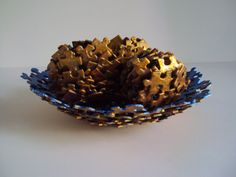 Metallic Blue and Gold Jigsaw Puzzle Bowl by SJPuzzles on Etsy, $15.00