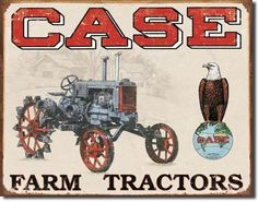 "Case Farm Tractor Sign Case farm tractors. Measures-16""""W x 12.5""""H Has holes in corners for easy hanging! Rolled edges for added strength and safety! Brand new tin sign made to look vintage,old, anti"