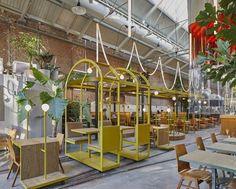 Kanarie Club, Amsterdam, 2016 - Studio Modijefsky Cafe Bar, Cafe Restaurant, Restaurant Design, Minimalist Kitchen, Minimalist Bedroom, Minimalist Decor, Modern Minimalist, Amsterdam, Minimalism Living