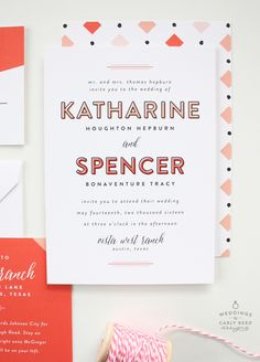 Hepburn Wedding Invitation Suite by Carly Reed Designs. Ready-to-order, customizable by color. Whimsical and modern, with playful patterns and simple, but eye-catching typography. #weddinginvitation #weddinginvite #weddingsuite #modernwedding #whimsicalwedding #coralwedding #colorfulwedding
