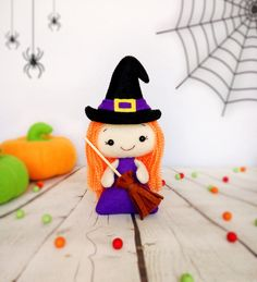 Halloween Ornaments Cute Witch Stuffed Toys Felt Hanging Decor Spooky Black Hat Witch Broom Halloween Gift Holiday Decor Little Witch Doll by BelkaUA on Etsy https://www.etsy.com/listing/281851412/halloween-ornaments-cute-witch-stuffed