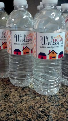"custom water bottle labels from Anything But Perfect.....Use these as ""gifts"" at open house"