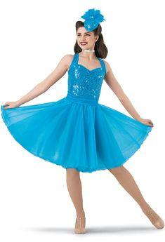 Weissman® | Sequin Satin Organza Halter Dress