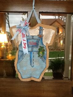Baby boy burlap door hanger by MerryLittleDarlings on Etsy, $35.00