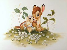 Disney Baby Clothes Girl, Baby Disney, Disney Art, Halloween Wallpaper Iphone, Disney Phone Wallpaper, Disney Kids Rooms, Creative Wall Painting, Bambi And Thumper, Photo Wall Collage