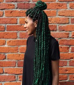 Funky Black And Green Box Braids - like the vibe of these greens.