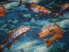 Designerstoffe USA - Mark Susinno US Fische BW Kanada Forellen Angler - ein Designerstück von Bibo-Laedchen bei DaWanda