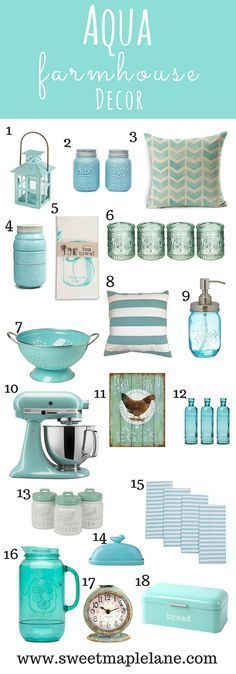 Decorate your home with these Aqua Farmhouse decor accents - Sweet Map ., Decorate your home with these Aqua Farmhouse decor accents - Sweet Map . Diy Home Decor Rustic, Retro Home Decor, Easy Home Decor, Home Decor Trends, Home Decor Kitchen, Coastal Decor, Country Decor, Decor Ideas, Kitchen Ideas