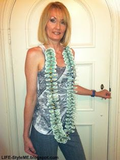 How To Make A Money Lei Necklace.  Can use colored paper as well if using money makes you skeptic.