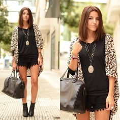 Queens Wardrobe Leopard Jacket, Queens Wardrobe Shorts, Bimba & Lola Bag, Cafe Noir Booties