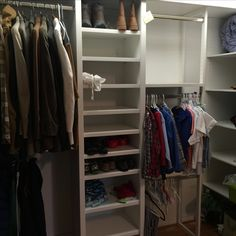 Multi use storage - adult out of season clothing and student year round clothing. More shelves for shoes, toys and camping equipment. Closet space maximized and plastic bins gone! Shoe Shelves, Storage Shelves, Storage Spaces, Camping Packing, Diy Camping, Camping Outfits For Women, Supply Room, Shared Closet, Camping Storage