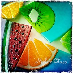 Lime Slice glass plate 8 square Summer Slice Series by melsieglass