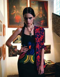 The wonderful world of Frida Kahlo on Vogue Mexico April 2011 - Photo: Michael Filonow - Model: Rostro de Diosa. Mexico Fashion, Mexico Style, Vogue Mexico, Christophe Lemaire, Mexican Dresses, Beautiful Models, Beautiful Things, Renoir, Helmut Lang