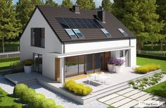 Projekty domów ARCHIPELAG - E4 G1 ECONOMIC (wersja A) Cottage Exterior, Home Fashion, Beach House, Sweet Home, Home And Garden, House Design, Mansions, House Styles, Outdoor Decor
