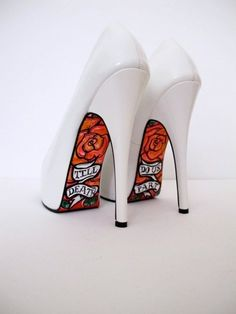 Adding a art decal or painting something on the bottom of heels