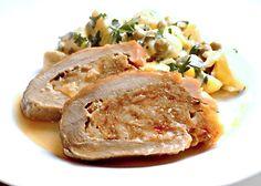 Recept : Vepřová kýta plněná masovou fáší se sýrem, lehký bramborový salát   ReceptyOnLine.cz - kuchařka, recepty a inspirace