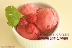 Healthy 3 Ingredient Ice Cream.  2 different recipes - one is dairy free!  Takes about 5 minutes to whip up and these are a great healthy treat for your kids!