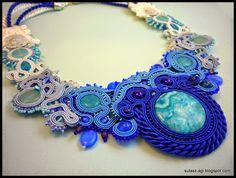 Blue soutache necklace