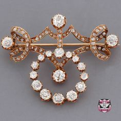 Antique Victorian European Diamond Pin  ~ Constructed in 18k gold and mounted with 6.00cts of old mine-cut diamonds and 74 rose-cut diamonds. With a swinging en tremblant door knocker, the piece weighs 14.4 grams  ~ $8000