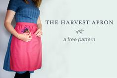 The Harvest Apron - A Free Pattern. Half Apron Patterns, Apron Pattern Free, Clothing Patterns, Sewing Patterns, Quilt Patterns, Easy Sewing Projects, Sewing Ideas, Sewing Crafts, Gardening Apron
